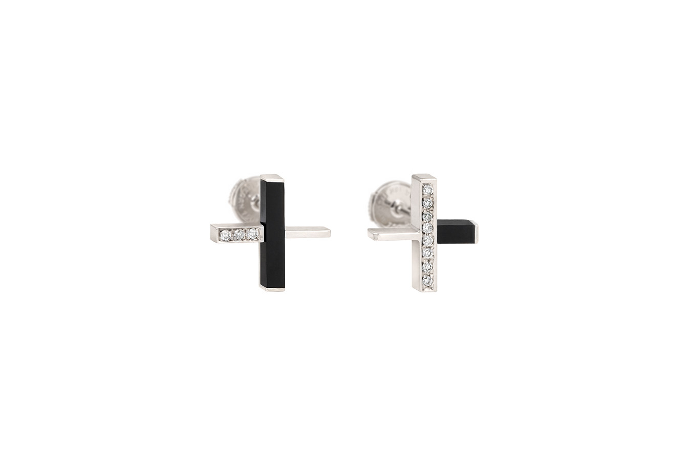 INTERSECTION Earrings White Gold 18K Onyx 11 Diamonds
