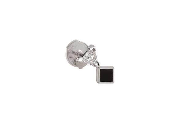 OBLIQUE MA EARRING 18K WHITE GOLD ONYX TRIANGLE DIAMOND 0.13CT