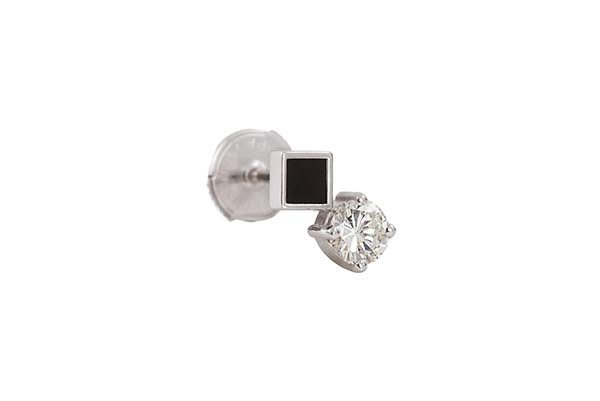 OBLIQUE MO EARRING 18K WHITE GOLD ONYX ROUND DIAMOND 0.26CT