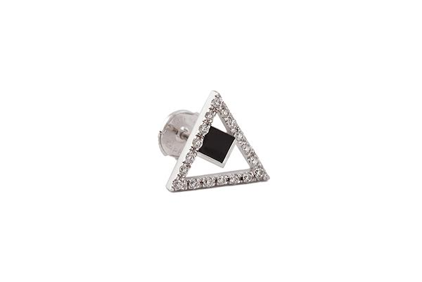 RATIO A EARRING 18K WHITE GOLD ONYX 18 ROUND DIAMONDS