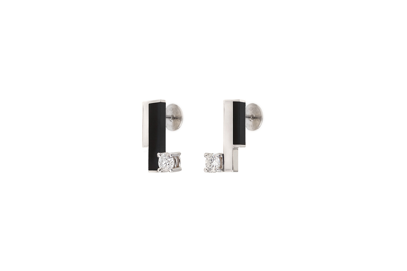COMPOSITION EARRINGS WHITE GOLD 18K ONYX TOTAL 0.40 CT DIAMONDS