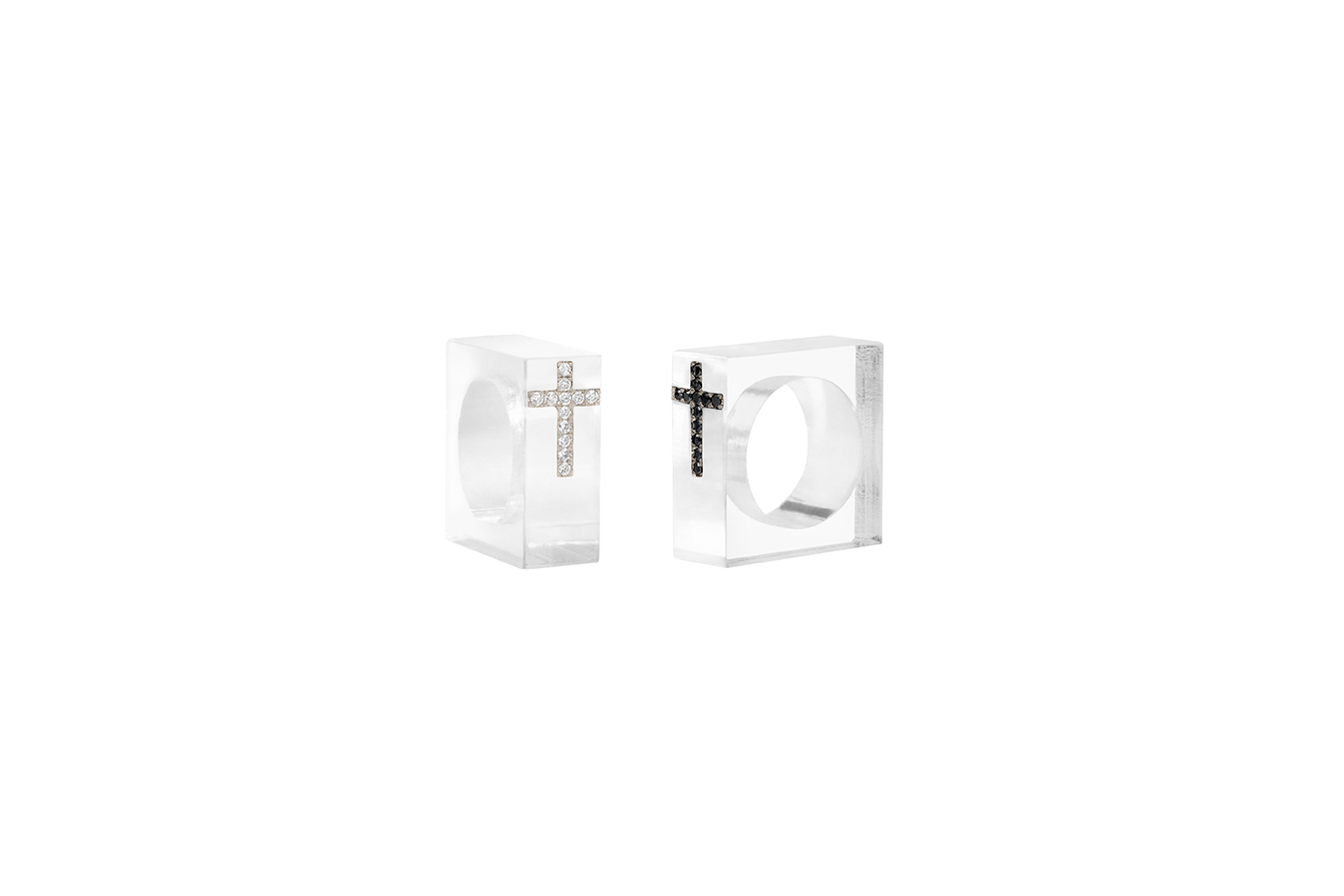 Bishop Rings Plexiglass White Gold base 12 White / Black Diamonds