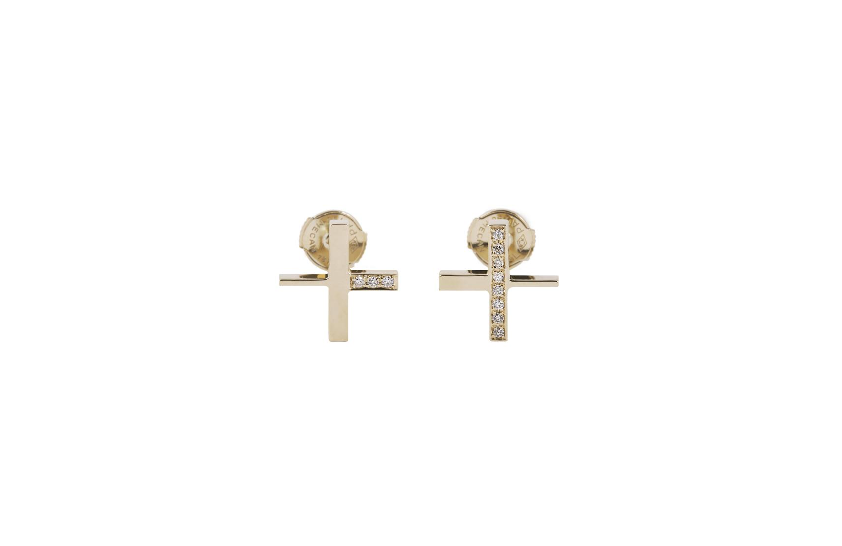 INTERSECTION EARRINGS YELLOW GOLD 18K 11 DIAMONDS