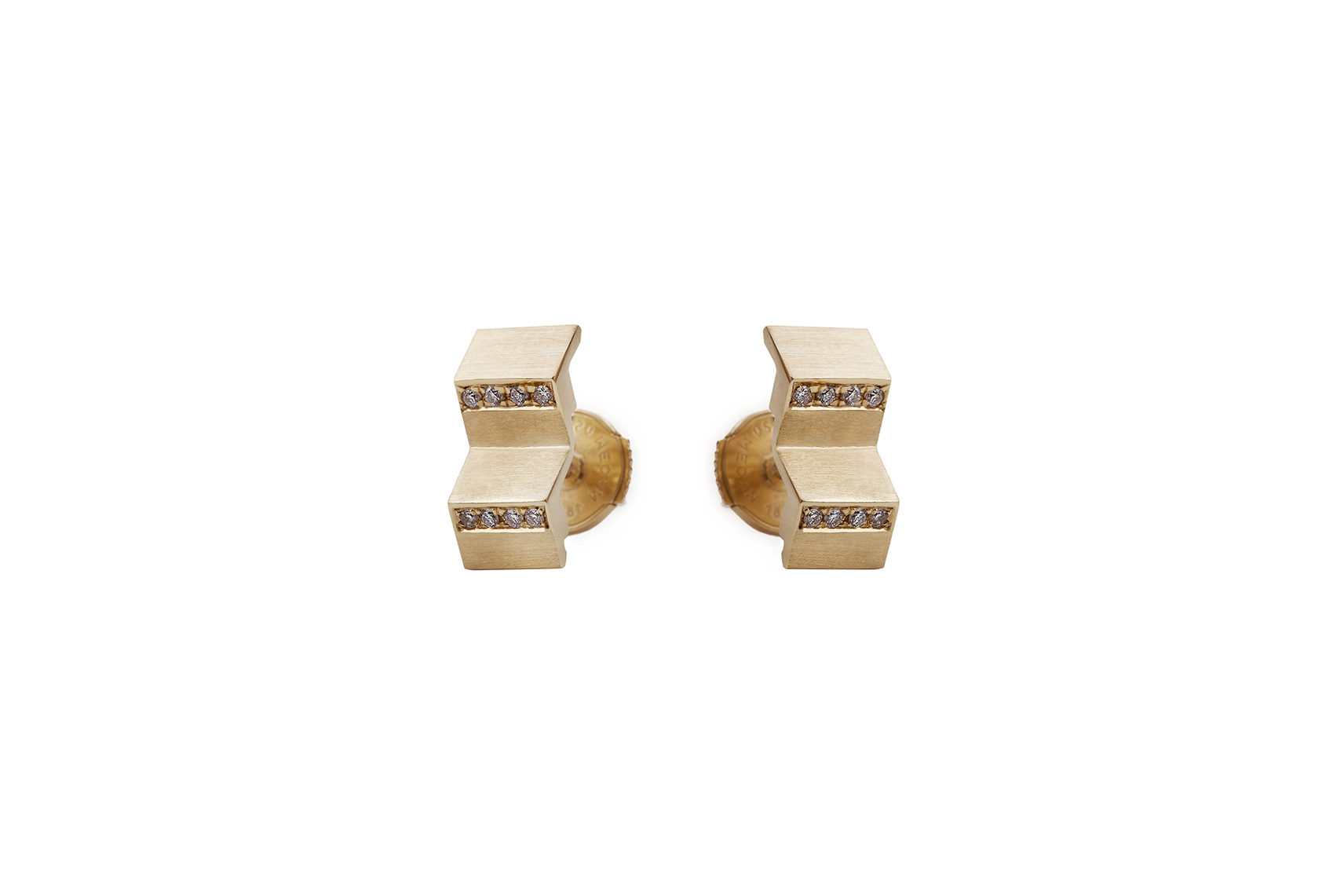 ONWARD EARRINGS WELLOW GOLD 18K 16 DIAMONDS