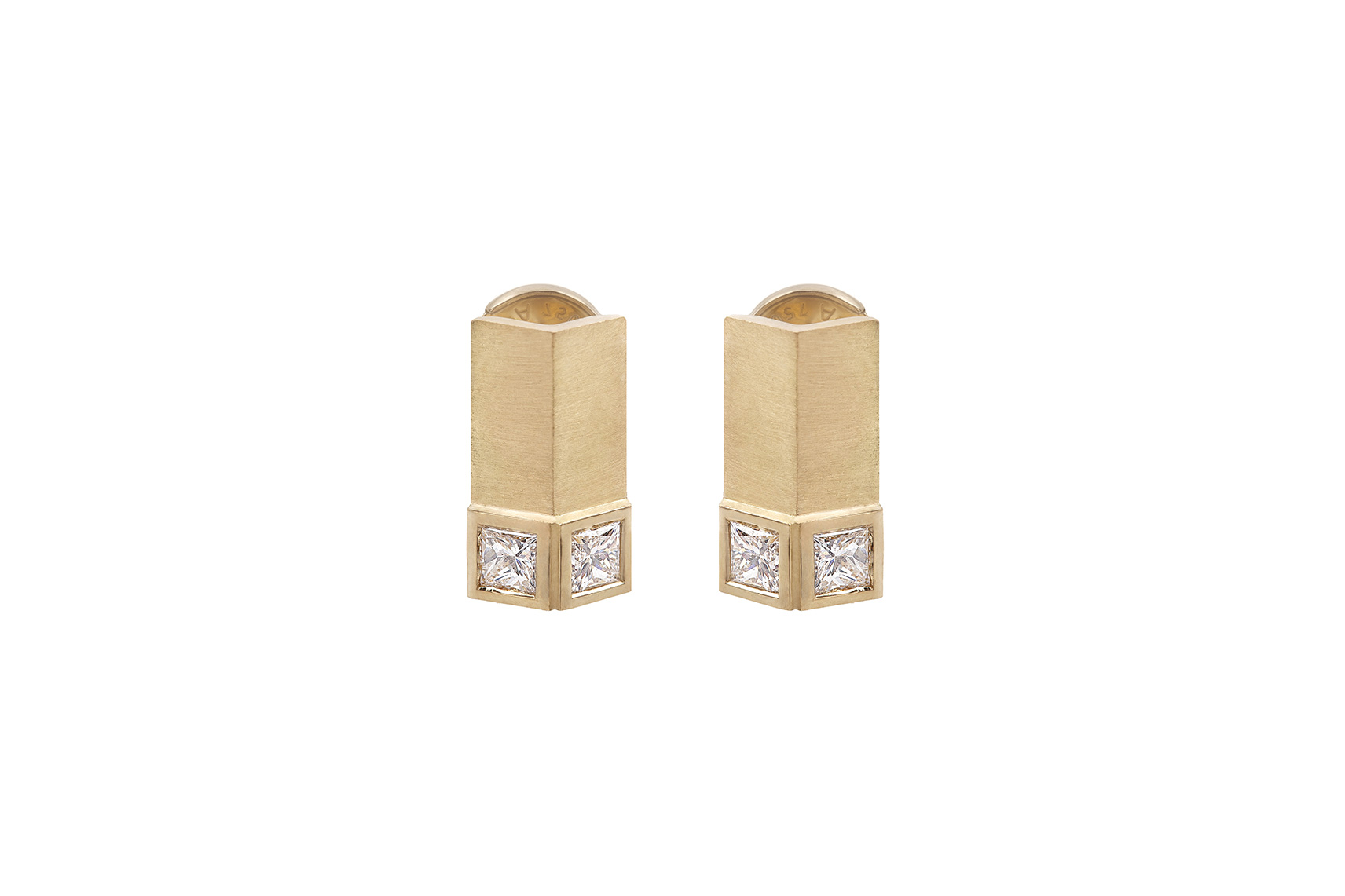 VERTICAL S EARRINGS YELLOW GOLD 18K PRINCESS 0.40 CT DIAMOND