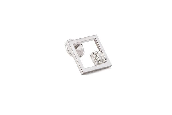 RATIO M EARRING 18K WHITE GOLD ROUND DIAMOND 0.26CT