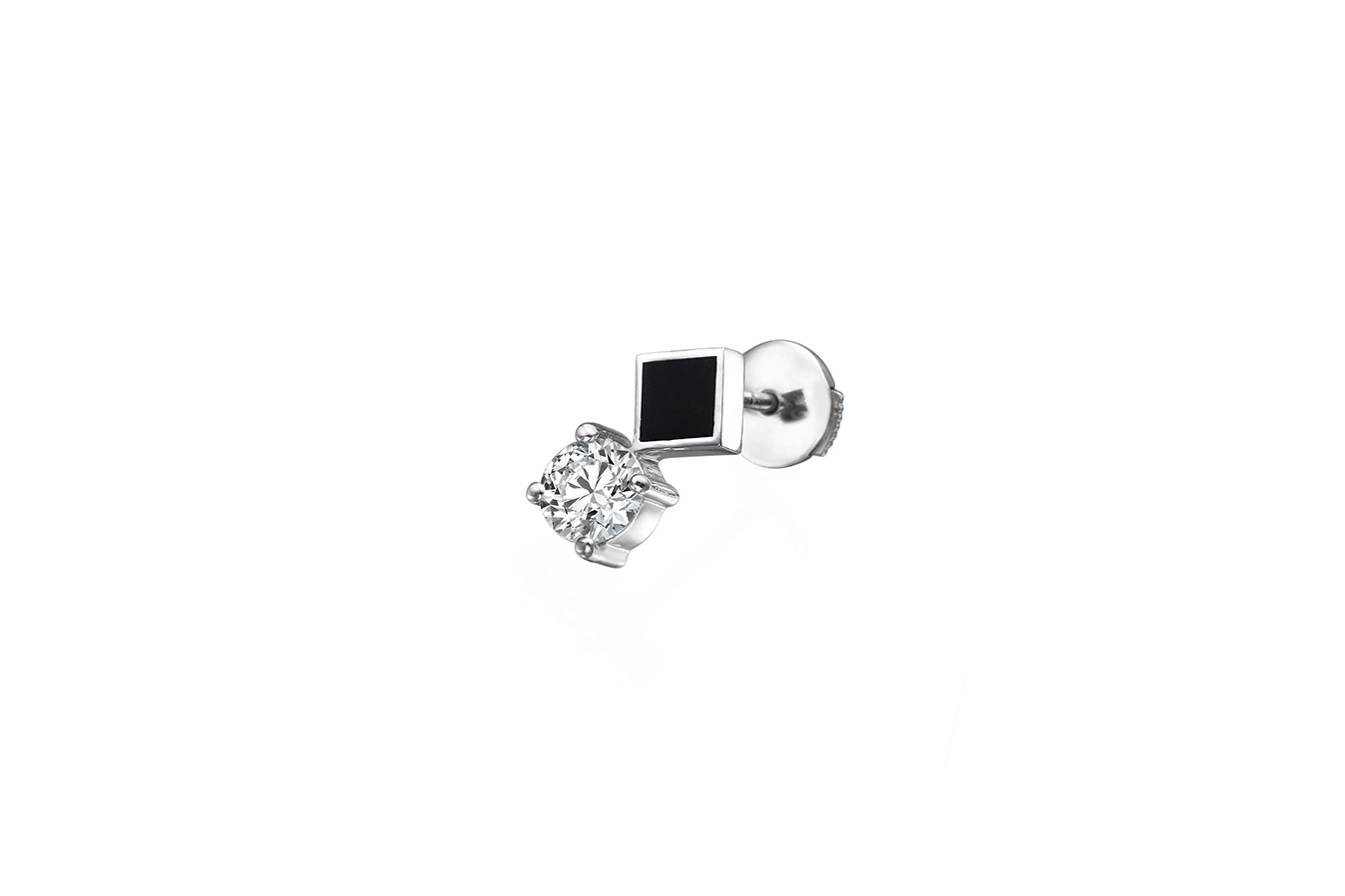 OBLIQUE MO+ EARRING 18K WHITE GOLD 0.50 CT DIAMOND