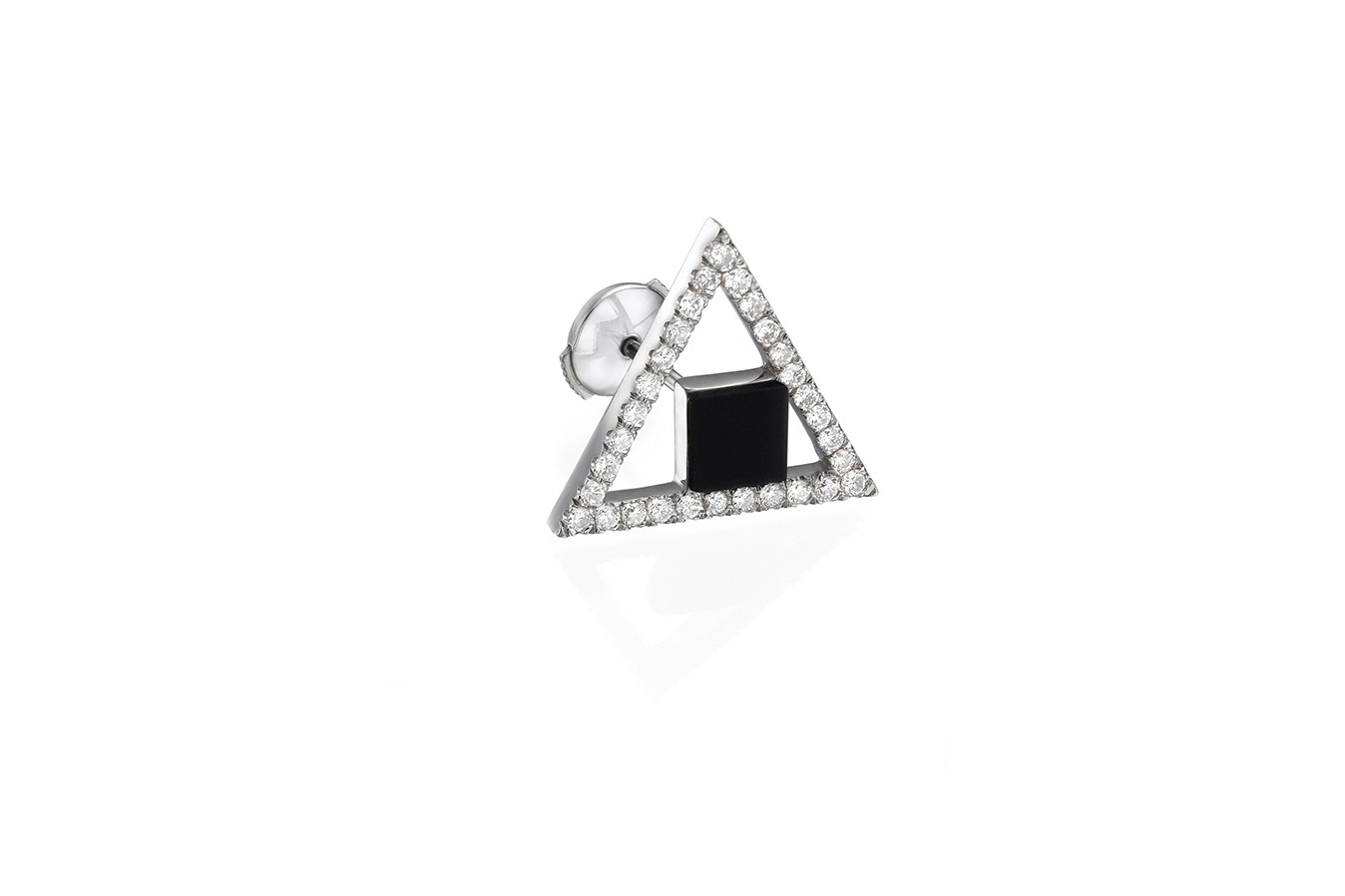RATIO A+ EARRING 18K WHITE GOLD ONYX 0.30 CT DIAMONDS