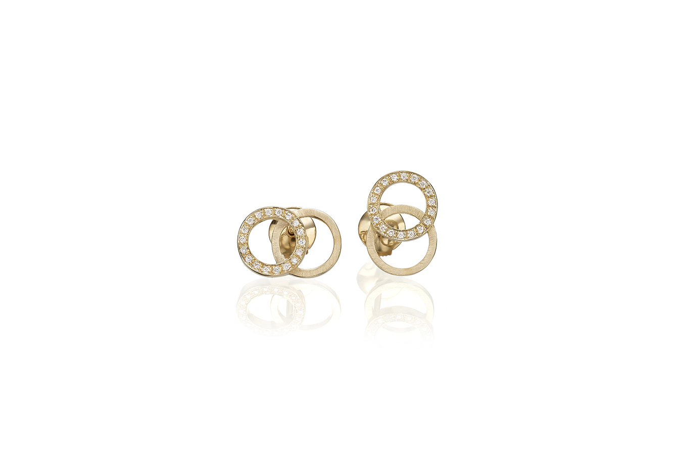 CIRCULAR B EARRINGS 18K YELLOW GOLD 0.20 CT DIAMONDS